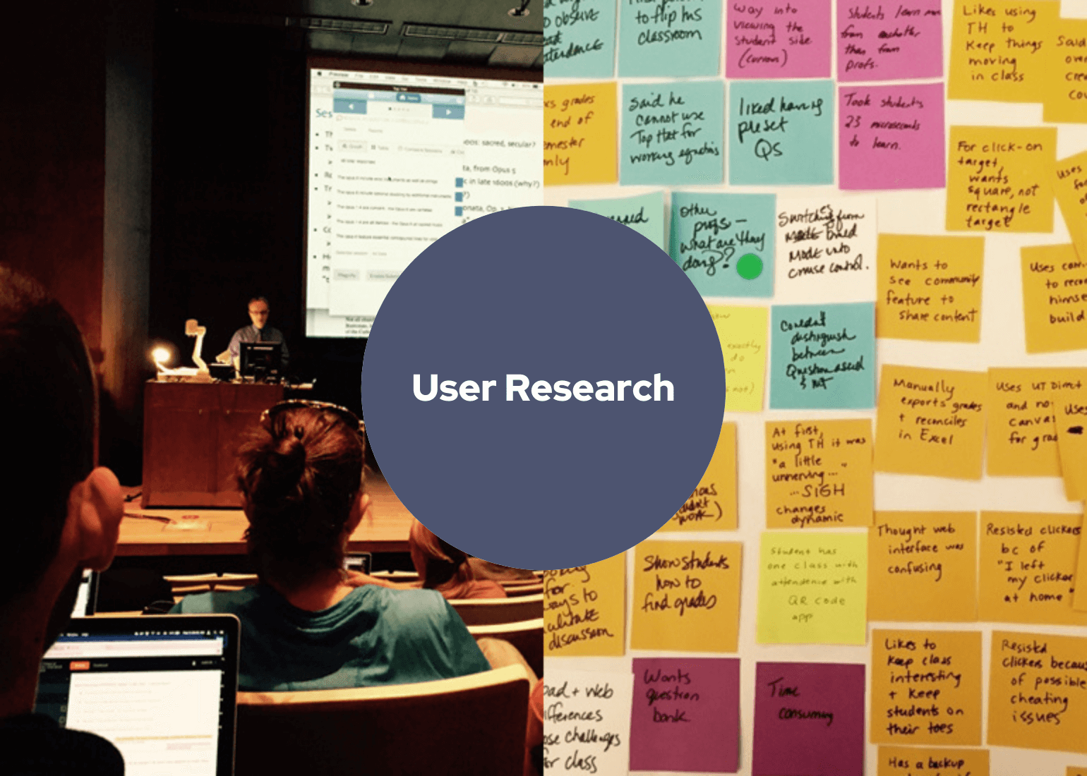 User Research. Man giving lecture at podium with audience and. Post-it notes on a whiteboard.