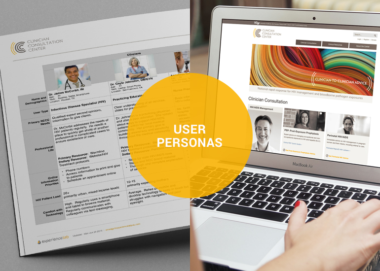 User personas and user interface on laptop computer