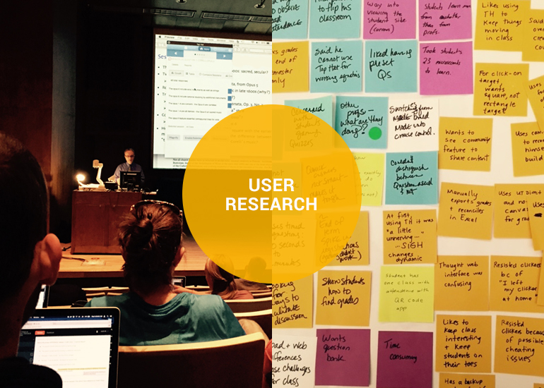 Speaker at podium and research post-it notes